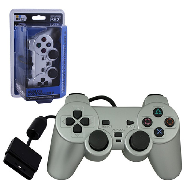 PS2 New Wired Controller Dual Shock 2 Style Controller Silver (TTX Tech)